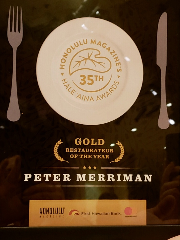 Peter Merriman named Restaurateur of the Year during the 35th annual Hale 'Aina Awards