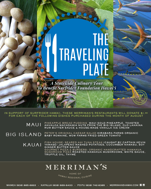 4th Annual @TravelingPlateHawaii - Dine for a cause this August to benefit Surfrider Hawaii!